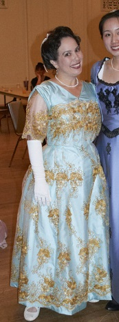 Reproduction Edwardian light blue evening dress