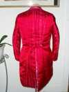women's red and pink satin tailcoat back