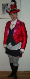 women's red and pink satin tailcoat