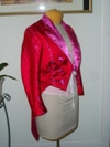 women's red and pink satin tailcoat right three quarter view