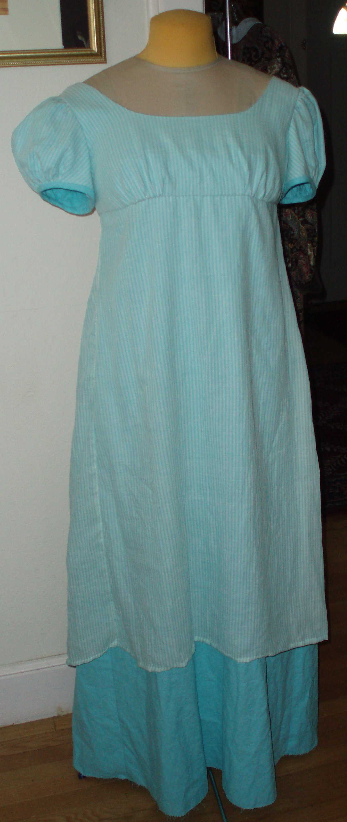 regency aqua evening dress
