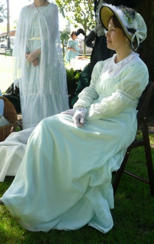 regency green day dress. Photo by David Bedno