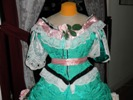 teal roses fancy dressbodice front view