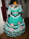 teal roses fancy dress front view