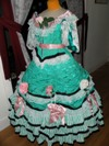 teal roses fancy dress three quarter left view