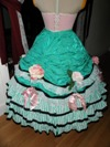 teal roses fancy dress skirt back view