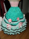 teal roses fancy dress skirt front view