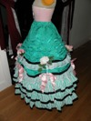 teal roses fancy dress skirt left view