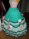 teal roses fancy dress skirt three quarter left view