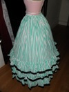 teal roses fancy dress underskirt left view